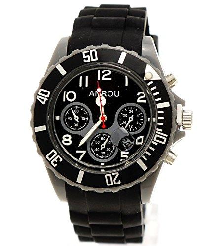 Sportliche Armbanduhr schwarz grau Anrou