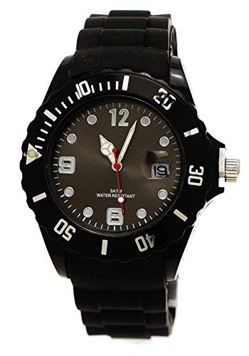 Sportliche Armbanduhr Schwarz Silber Datumsanzeige