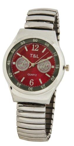 Z1 T L Sportliche Uhr Rotes Ziffernblatt mit coolen Chronoimitationen