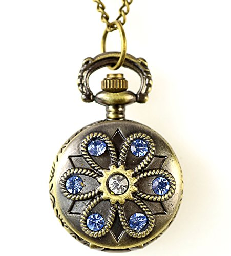 Tuerkis Glitzernde Umhaengeuhr Halskette mit Sprungdeckel