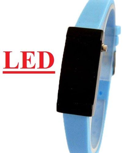 Ultra Schmale Damen Sommer LED Uhr Baby Blau K72