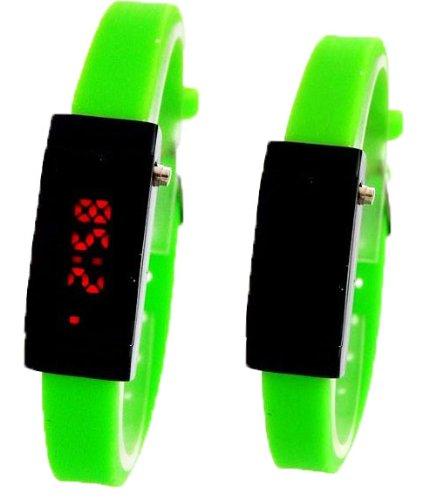 Ultra Schmale Damen Sommer LED Uhr Neon Gruen Ohne Batterien