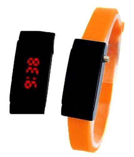 Ultra Schmale Damen Sommer LED Uhr Orange A374