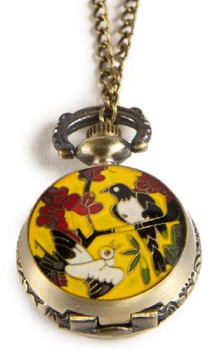 Umhaengeuhr Halskette mit Sprungdeckel GELB Asiatisch versch Motive