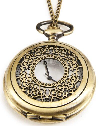 Umhaengeuhr Halskette mit Sprungdeckel Bronze Ornament