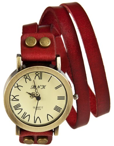 Mambo Vintage Wickel Armband Uhr Leder Rot Armbanduhr Lederarmbanduhr Quarzuhr