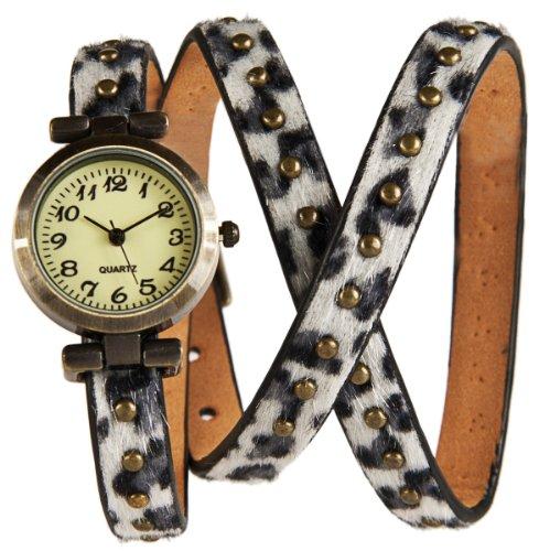 Wickel Armband Uhr Grey Panther mit Nieten