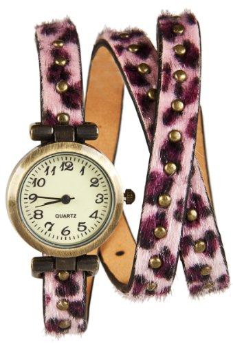 Wickel Armband Uhr Pink Panther mit Nieten