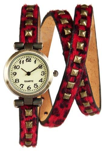 Wickel Armband Uhr Red Panther mit Nieten