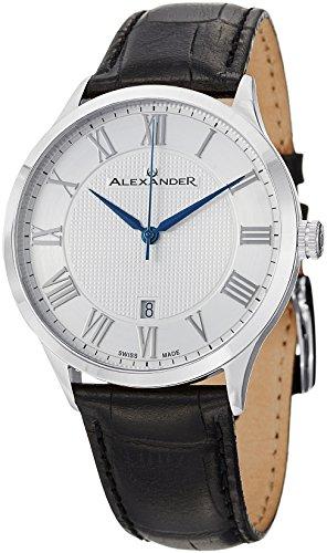 Alexander Statesman Triumph Armbanduhr Edelstahlgehaeuse auf schwarzem gepraegtem Band aus echtem Leder silberfarbenes Zifferblatt A103 01
