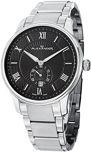 Alexander Statesman Regalia Armbanduhr Edelstahl Gehaeuse auf Edelstahl Armband schwarz gemustertes Zifferblatt A102B 02