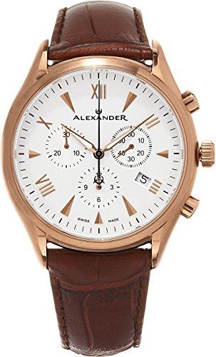 Alexander heldenhaften Pella Multifunktions Chronograph braun Lederband Silber Zifferblatt Rose Vergoldet Swiss Herren Armbanduhr A021 04