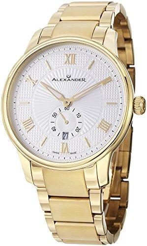 Alexander Staatsmann Kronjuwelen Edelstahl Gelb Gold Ton Fall auf Edelstahl Gelb Gold Ton Armband silver patterned Zifferblatt a102b 03