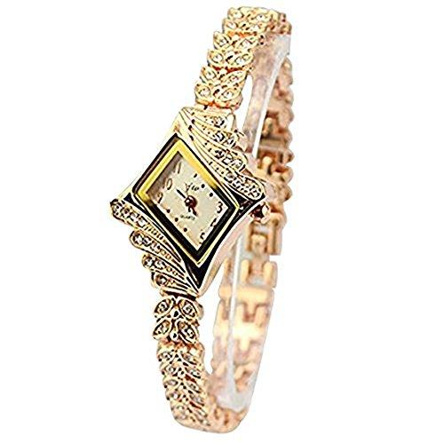 Bonamana elegante Marken Quarz Armband Armbanduhr Rosen GoldEdelstahl mit nachgemachtem keramischem fuer Dame Woman Girl