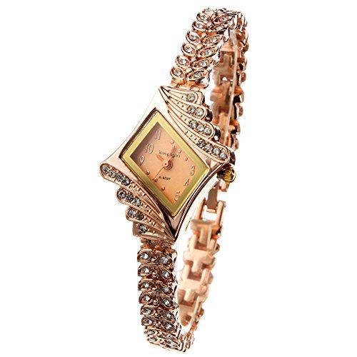 Bonamana Gold Plated Armbanduhren Imitation von Diamant Uhren Elegante Rhombus Frauen Maedchen Damen Armbanduhr Geschenk fuer Freundin