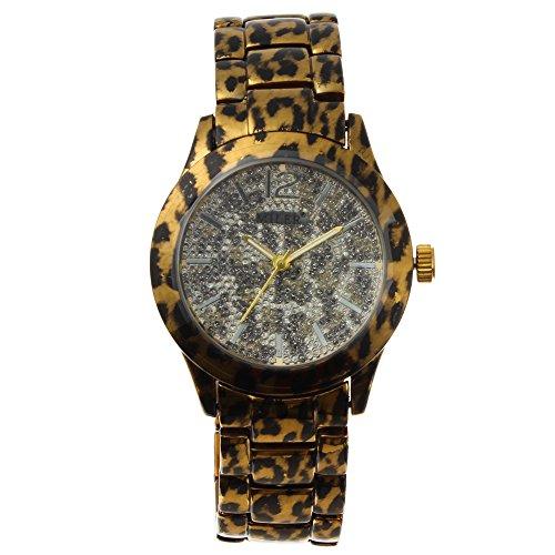 Bonamana Miler Leopard Print Diamanten Besetzte Quarz Armbanduhr Damenuhr Leopard Druck Strap
