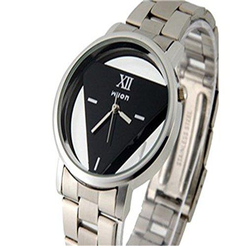 Bonamana Herren Edelstahl Uhren mit Dreieck foermigen Zifferblatt Platte Schwarz