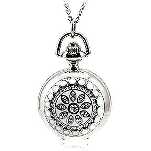 Bonamana Frauen Edelstahl Jaeger Kasten Halsketten haengende Taschen Uhr weiss