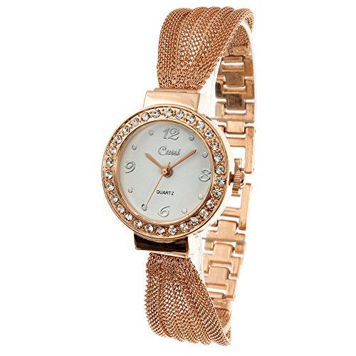 Bonamana Frauen Girls Fashion Rose goldene Armbanduhren runden Zifferblatt Armbanduhren