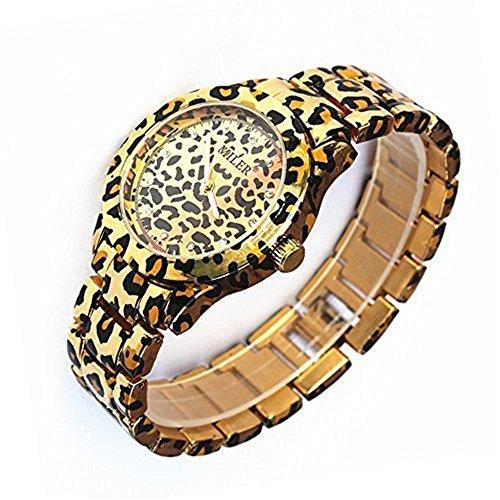 Bonamana New Fashion Sexy Ladies Miler Gold tone Leopard Quartz Movement Women Sports Wrist Watch