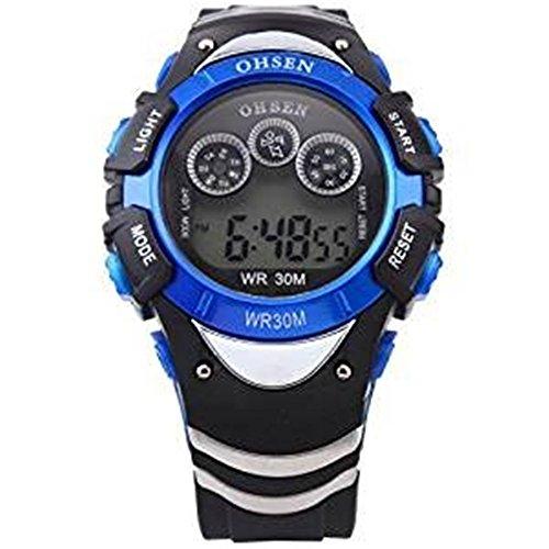 Bonamana Herren Blaue Datum Alarm 7 Modi Hintergrundbeleuchtung Multifunktions Sport Gummi Uhr