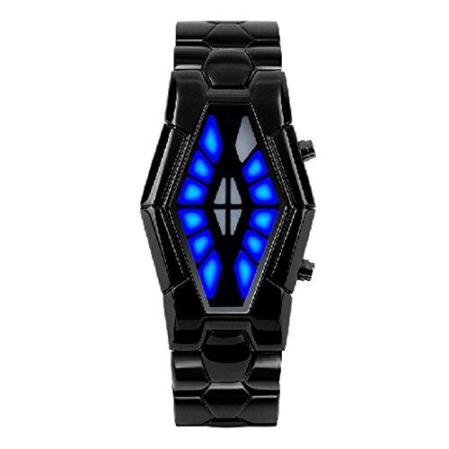 Bonamana Herren Schlangen Kopf Design Dial LED Uhr mit Edelstahlarmband schwarz