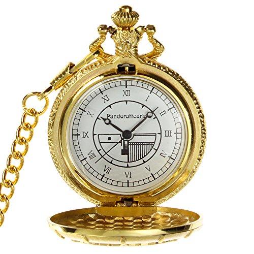 Bonamana Pandora Herz goldenes Gp runde Taschen Uhr Halsketten haengendes Cosplay Zusatz