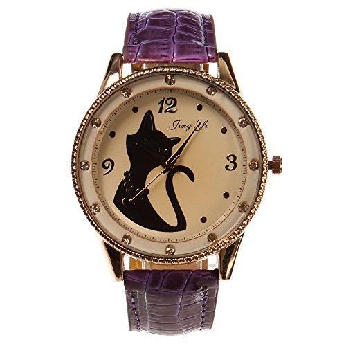 Bonamana Das neue rosafarbene Goldrahmenkatze Muster niedliche Damen Uhr purpurrot