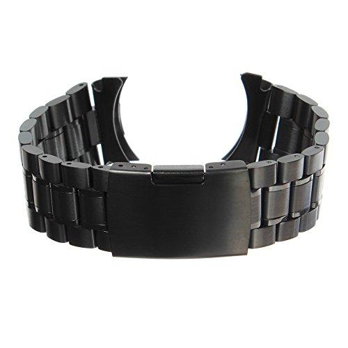 Bonamana Uhrenarmbaender Schwarz Massivem Edelstahl Links Bandbuegel Curved End Faltschliesse 24mm