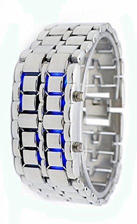 Bonamana LED Vulkanische Lava Gesichtslose Metallic Armband Unisex Armbanduhr