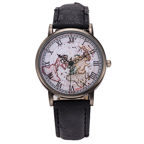 Bonamana Frauen Weltkarte Muster PU Lederband Armbanduhr Schwarz