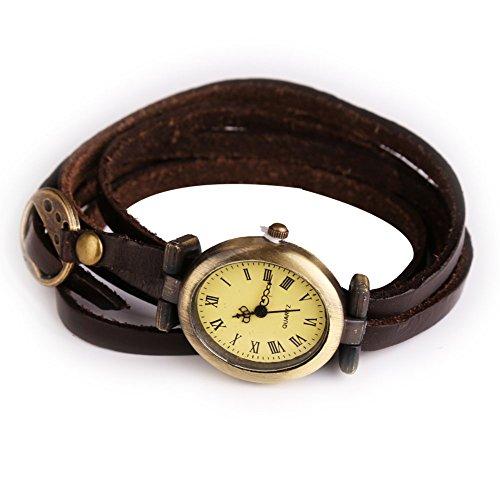 Einfache Leder Vintage weiblich Armband Lady Frau Quarzuhr Armbanduhr Braun
