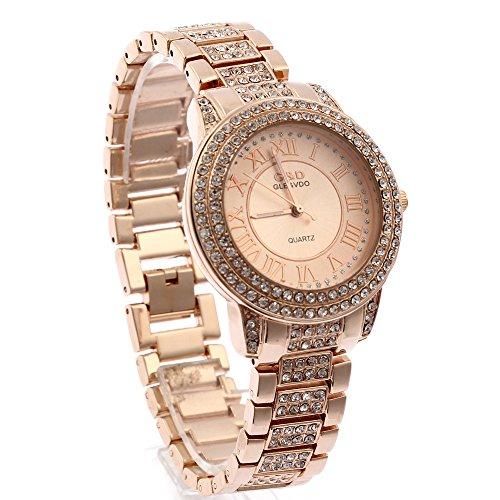 lintimes Damen Runde Form One Kette von Rose Gold Oberflaeche mit Diamant und Rose Gold Kette mit Diamant Quarz watch rose Gold