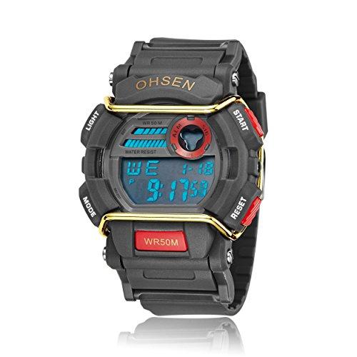 lintimes Luxus Herren elektronische LED Digital Quarzuhr Wasserfest Sport Uhren rot