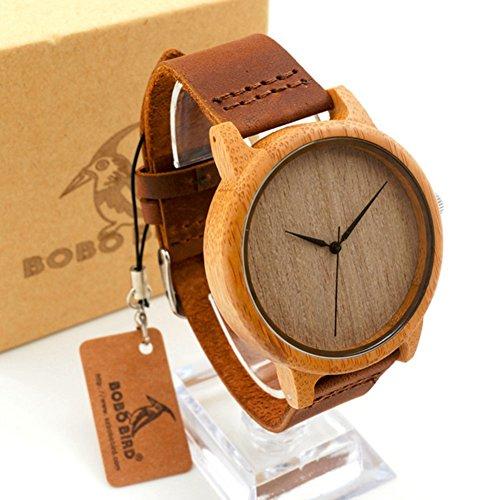 lintimes Herren Bambus Holz Armbanduhren mit echtes Rindsleder Leder Band Luxus Holz weiss Uhren