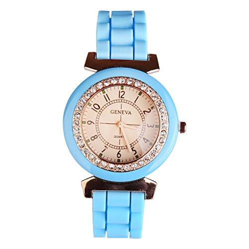 lintimes Damen Herren Geneva Silikon Jelly Gel Quarz Analog Sport Armbanduhr Blau