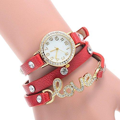 lintimes Kristall Love Damen Kunstleder Wrap Band runden Zifferblatt Analog Armband Rot