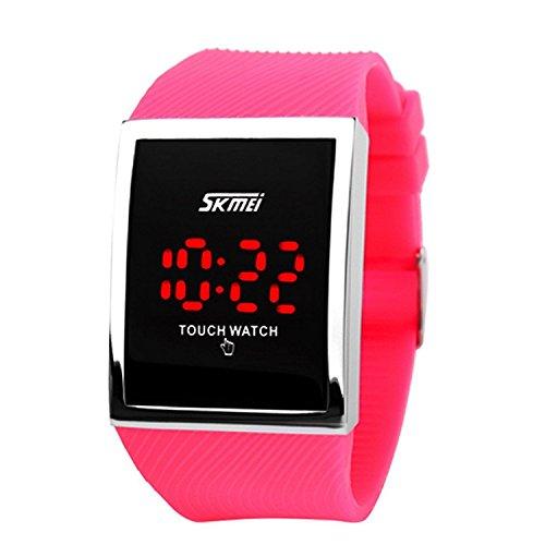 lintimes Kid s Jungen Maedchen Touch Bildschirm Uhr 30 M Wasser Widerstand Digital LED Sport Casual Armbanduhr Rose Rot