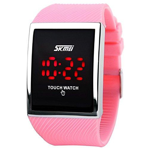lintimes Kid s Jungen Maedchen Touch Bildschirm Uhr 30 M Wasser Widerstand Digital LED Sport Casual Armbanduhr Pink
