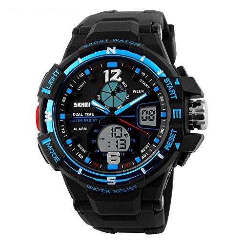 lintimes Herren Multifunktions Big Sport Armbanduhr Dual Time Display Digital und Analog 30 m Wasser Widerstand Hintergrundbeleuchtung Sport Armbanduhr Blau