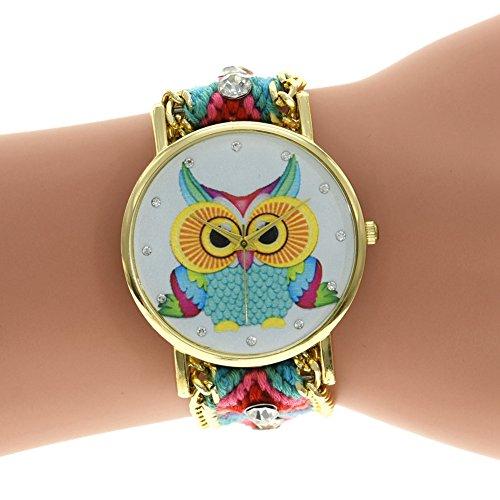 lintimes 3D Verstellbarer gewebter Schulterriemen Armband Uhr mit Eule Uhr Zifferblatt