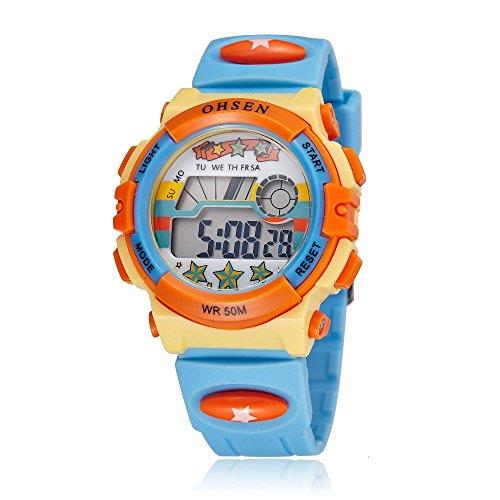 lintimes LED Digital wasserdichte Herren Frauen Multifunktions Outdoor Sport elektronische Uhr hellblau