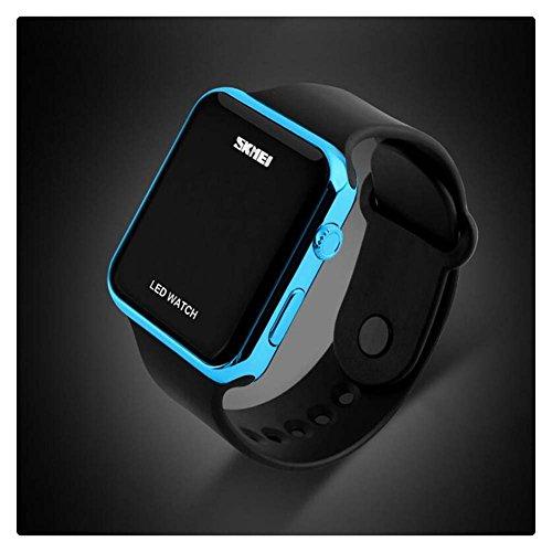 Unisex Simple Disign LED Digital Uhr fuer Maenner Frauen Blau