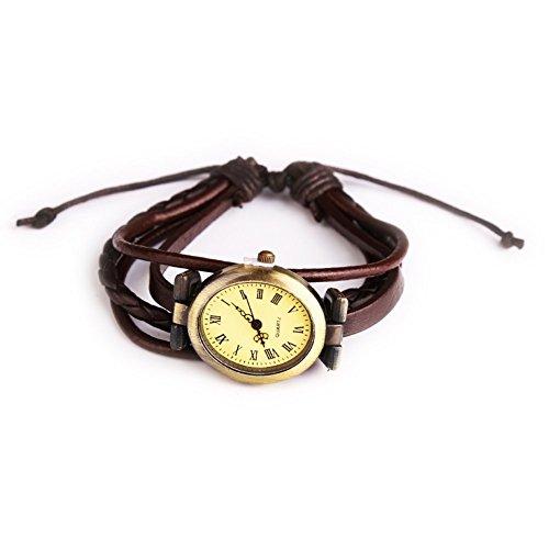 Leder Vintage weiblich Armbanduhr Rund Quarzuhr Handschlaufe braun