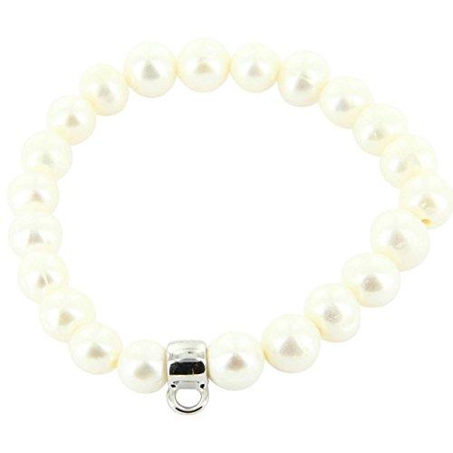Daphnee und Compagnie Armband Damen Leder Charmtraeger weissen Perlen Charm Carrier DAPHNEE 665