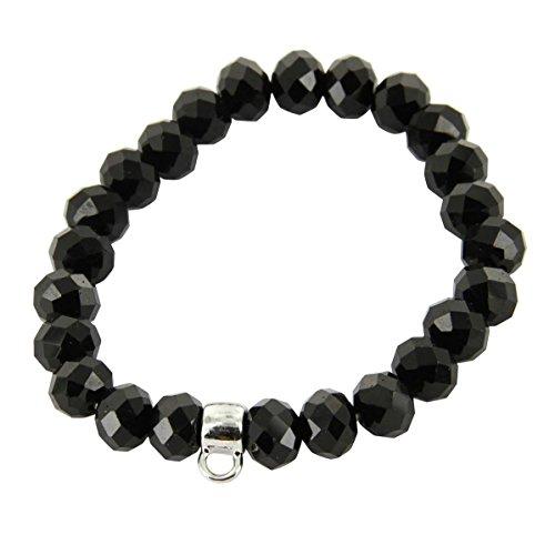 Daphnee und Compagnie Armband Damen Leder Charmtraeger schwarze Perle Charm Carrier DAPHNEE 597