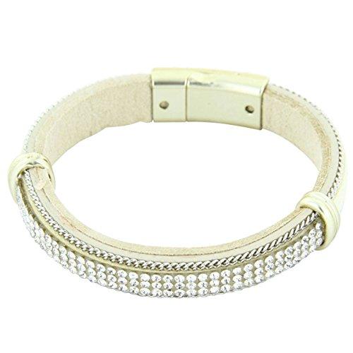 Daphnee und Compagnie Armband Fashion Damen Leder beige mit DAPHNEE 1222