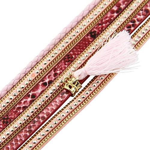 Daphnee und Compagnie Armband Fashion Damen Leder Rosa Glitzer DAPHNEE 1138