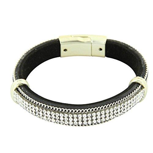 Daphnee und Compagnie Armband Damen Trend Leder braun glitzer DAPHNEE 1225