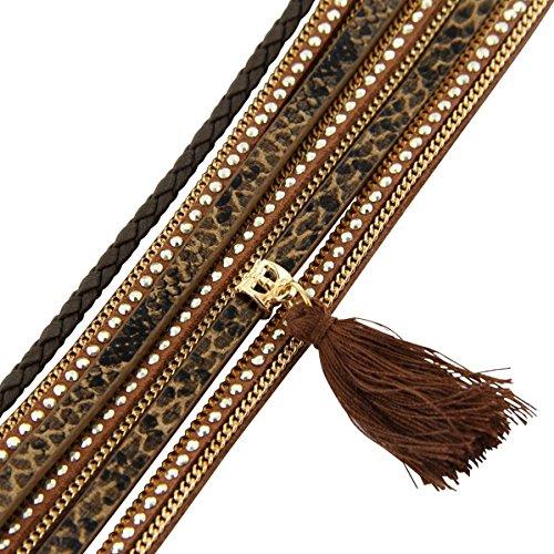 Daphnee und Compagnie Armband original Damen Leder braun glitzer DAPHNEE 1134
